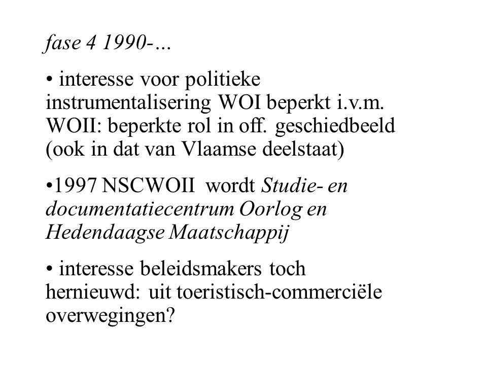 fase 4 1990-… interesse voor politieke instrumentalisering WOI beperkt i.v.m.