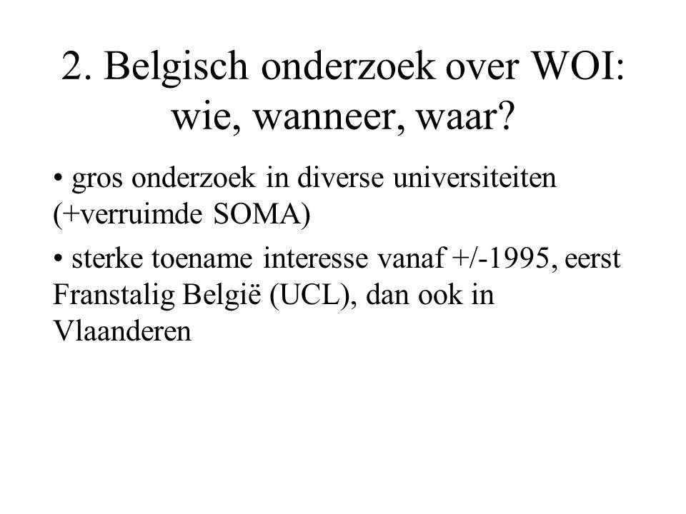 2. Belgisch onderzoek over WOI: wie, wanneer, waar.