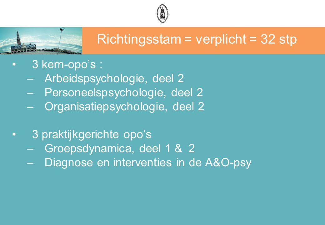 Richtingsstam = verplicht = 32 stp 3 kern-opo's : –Arbeidspsychologie, deel 2 –Personeelspsychologie, deel 2 –Organisatiepsychologie, deel 2 3 praktijkgerichte opo's –Groepsdynamica, deel 1 & 2 –Diagnose en interventies in de A&O-psy