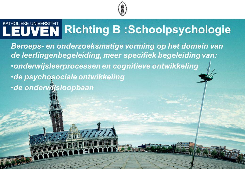Richting B :Schoolpsychologie Beroeps- en onderzoeksmatige vorming op het domein van de leerlingenbegeleiding, meer specifiek begeleiding van: onderwi