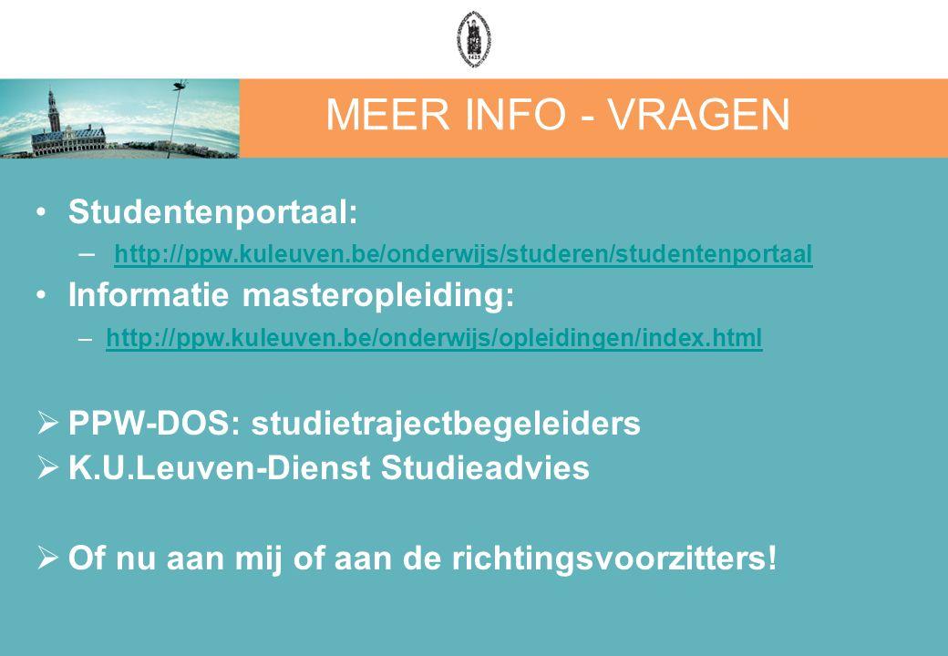 MEER INFO - VRAGEN Studentenportaal: – http://ppw.kuleuven.be/onderwijs/studeren/studentenportaal http://ppw.kuleuven.be/onderwijs/studeren/studentenp
