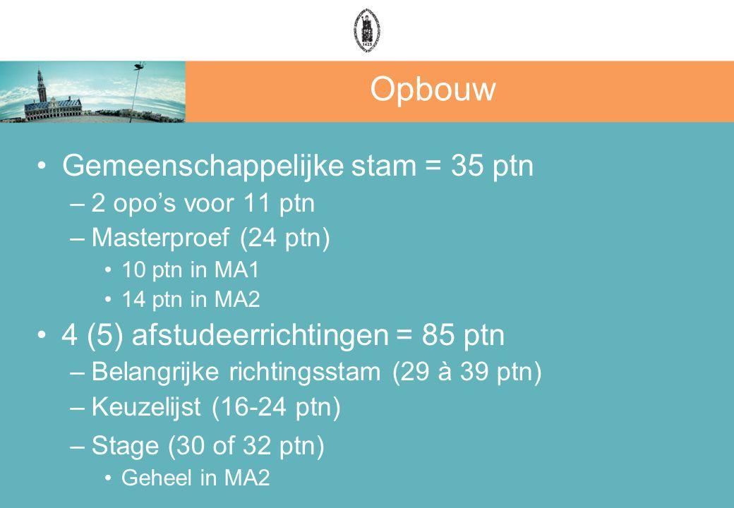 Opbouw Gemeenschappelijke stam = 35 ptn –2 opo's voor 11 ptn –Masterproef (24 ptn) 10 ptn in MA1 14 ptn in MA2 4 (5) afstudeerrichtingen = 85 ptn –Bel