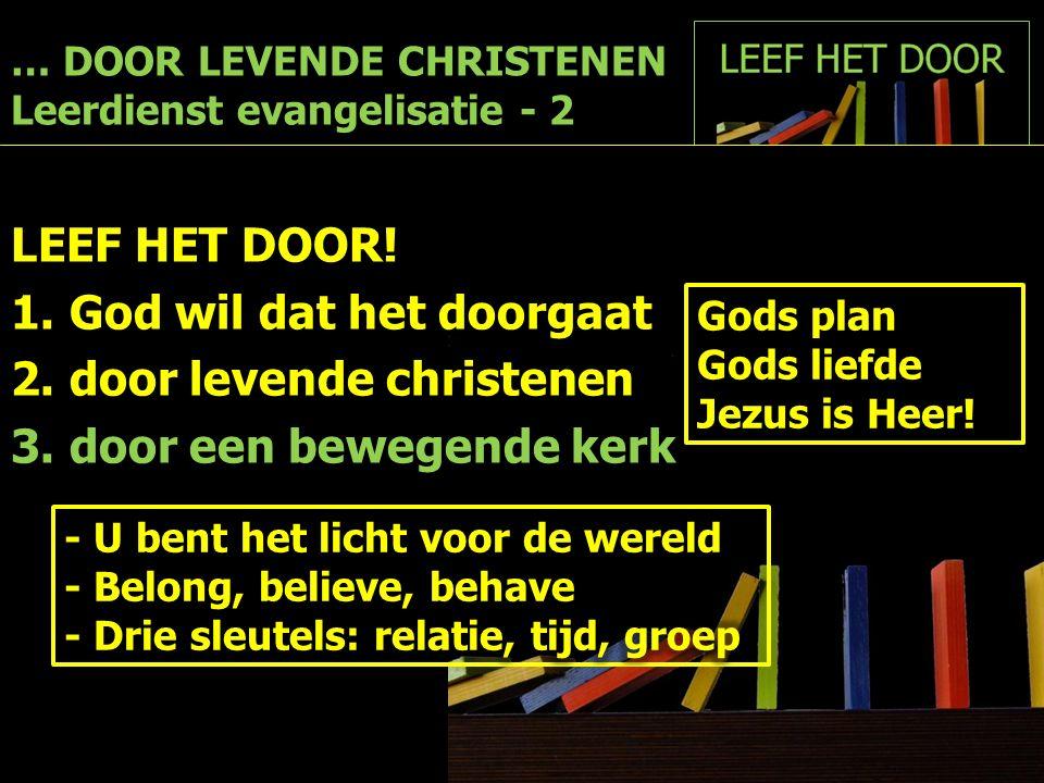 … DOOR LEVENDE CHRISTENEN Leerdienst evangelisatie - 2 LEEF HET DOOR! 1.God wil dat het doorgaat 2.door levende christenen 3.door een bewegende kerk G