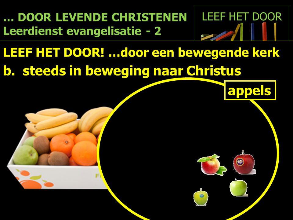 … DOOR LEVENDE CHRISTENEN Leerdienst evangelisatie - 2 LEEF HET DOOR! …door een bewegende kerk b. steeds in beweging naar Christus appels