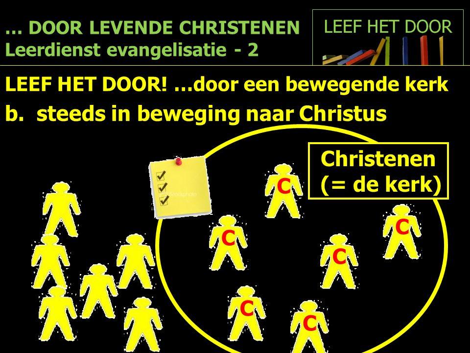 … DOOR LEVENDE CHRISTENEN Leerdienst evangelisatie - 2 LEEF HET DOOR! …door een bewegende kerk b. steeds in beweging naar Christus Christenen (= de ke
