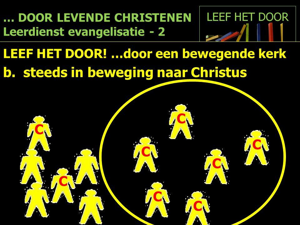 … DOOR LEVENDE CHRISTENEN Leerdienst evangelisatie - 2 LEEF HET DOOR! …door een bewegende kerk b. steeds in beweging naar Christus CC C C C C C C