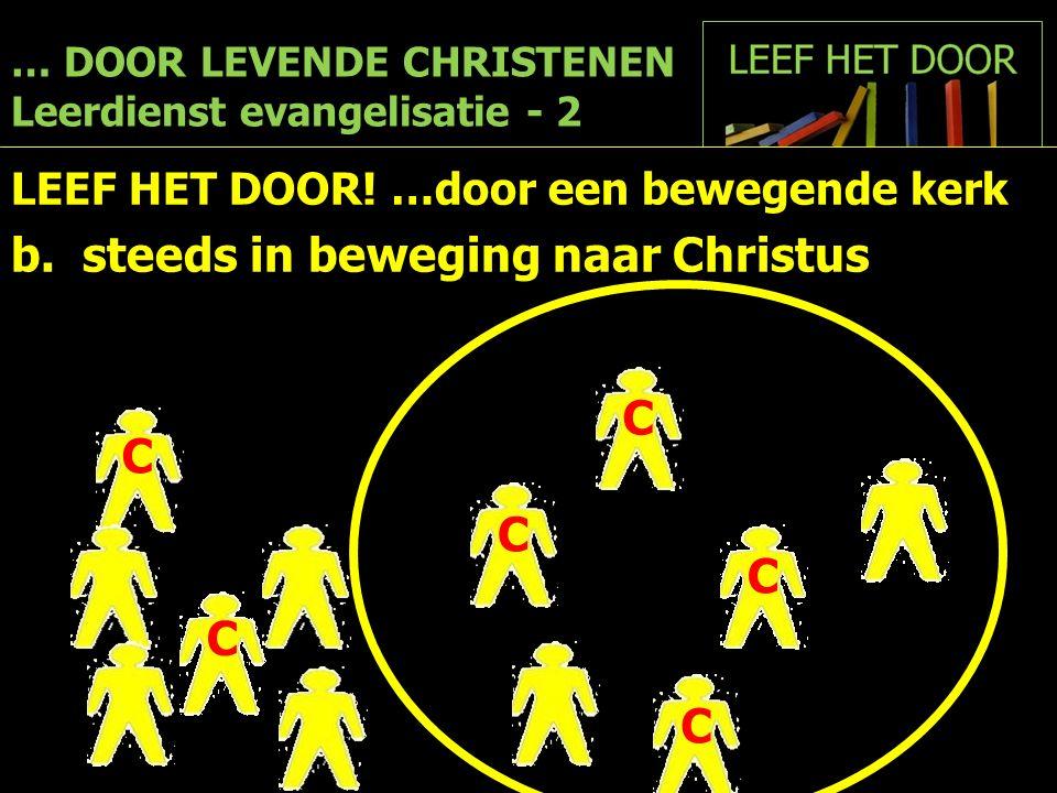… DOOR LEVENDE CHRISTENEN Leerdienst evangelisatie - 2 LEEF HET DOOR! …door een bewegende kerk b. steeds in beweging naar Christus C C C C C C