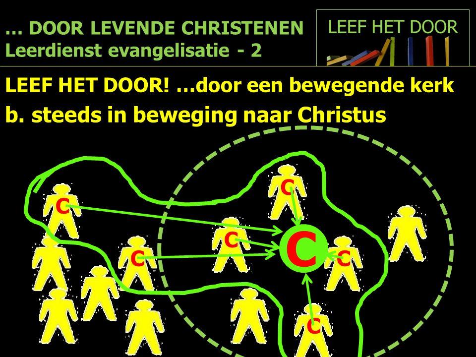 … DOOR LEVENDE CHRISTENEN Leerdienst evangelisatie - 2 LEEF HET DOOR! …door een bewegende kerk b.steeds in beweging naar Christus C C C C C C C