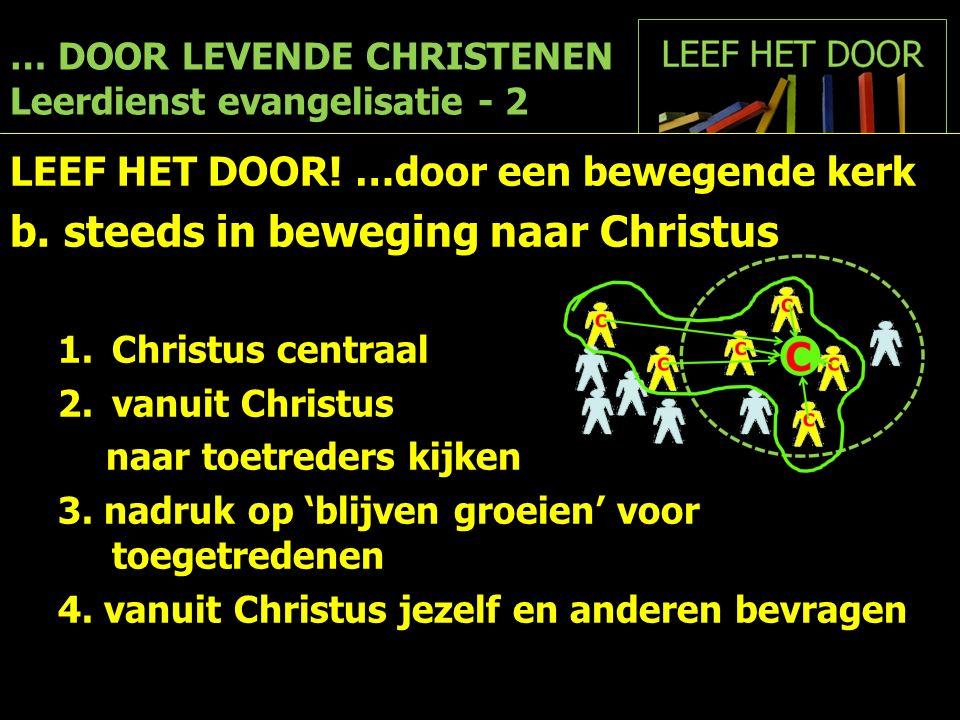 … DOOR LEVENDE CHRISTENEN Leerdienst evangelisatie - 2 LEEF HET DOOR! …door een bewegende kerk b.steeds in beweging naar Christus 1.Christus centraal