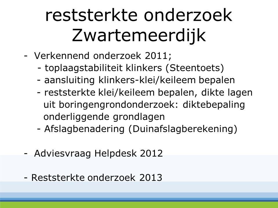 reststerkte onderzoek Zwartemeerdijk -Verkennend onderzoek 2011; - toplaagstabiliteit klinkers (Steentoets) - aansluiting klinkers-klei/keileem bepale