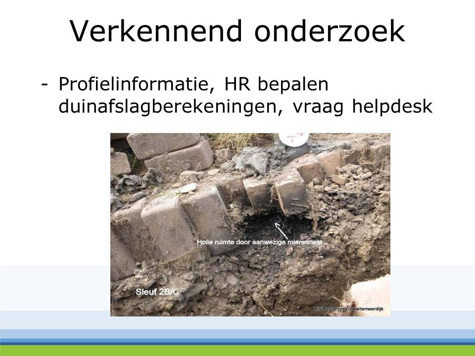 Verkennend onderzoek -Profielinformatie, HR bepalen duinafslagberekeningen, vraag helpdesk