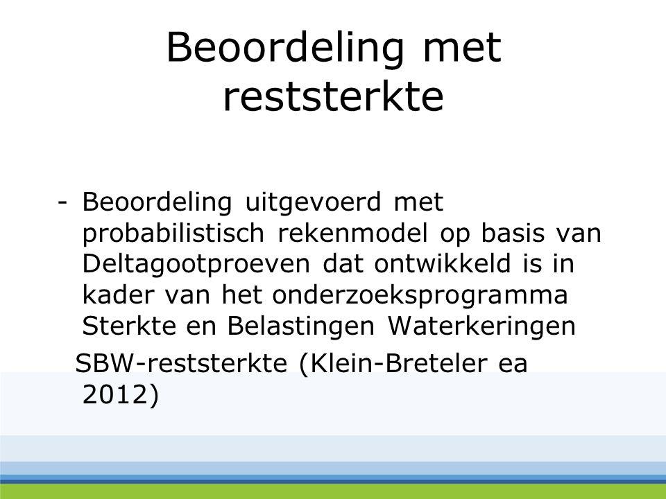 Beoordeling met reststerkte -Beoordeling uitgevoerd met probabilistisch rekenmodel op basis van Deltagootproeven dat ontwikkeld is in kader van het on