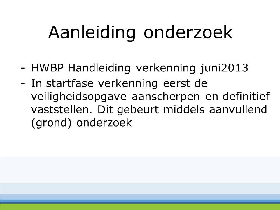 Aanleiding onderzoek -HWBP Handleiding verkenning juni2013 -In startfase verkenning eerst de veiligheidsopgave aanscherpen en definitief vaststellen.