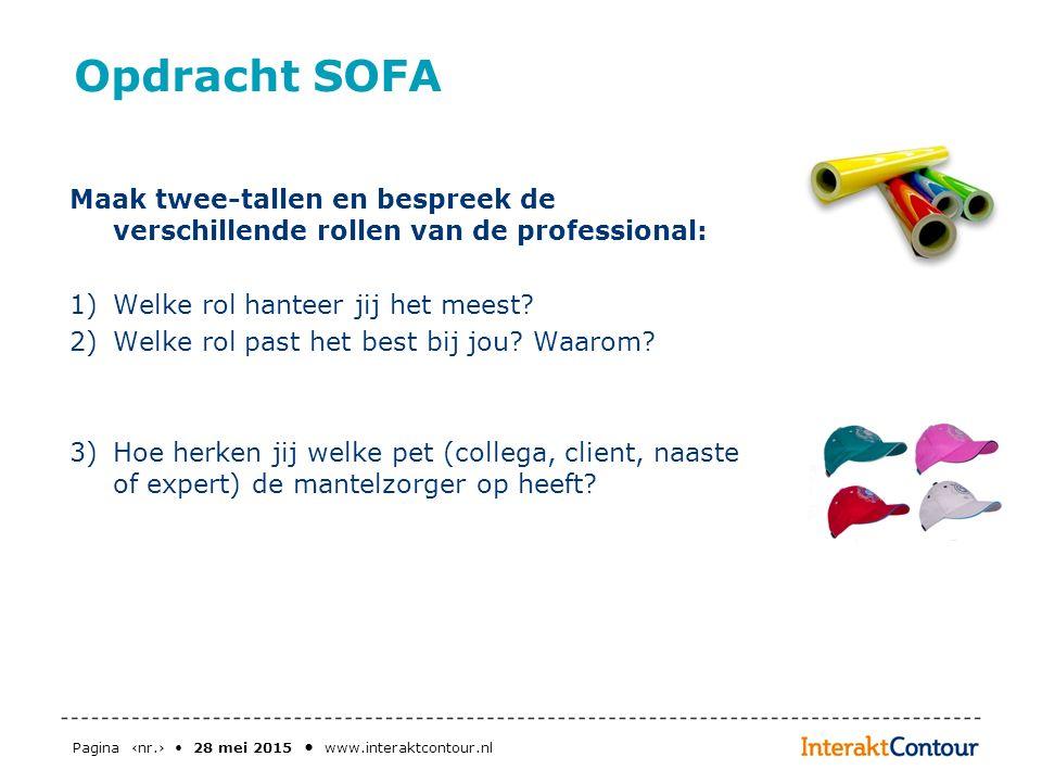 Opdracht SOFA Maak twee-tallen en bespreek de verschillende rollen van de professional: 1)Welke rol hanteer jij het meest? 2)Welke rol past het best b