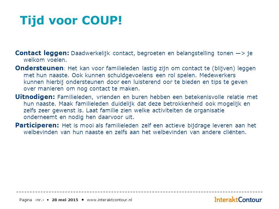 Pagina ‹nr.› 28 mei 2015 www.interaktcontour.nl Tijd voor COUP! Contact leggen: Daadwerkelijk contact, begroeten en belangstelling tonen —> je welkom