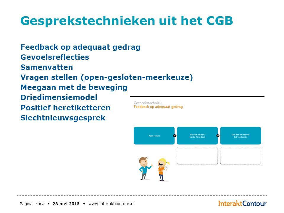 Pagina ‹nr.› 28 mei 2015 www.interaktcontour.nl Gesprekstechnieken uit het CGB Feedback op adequaat gedrag Gevoelsreflecties Samenvatten Vragen stelle