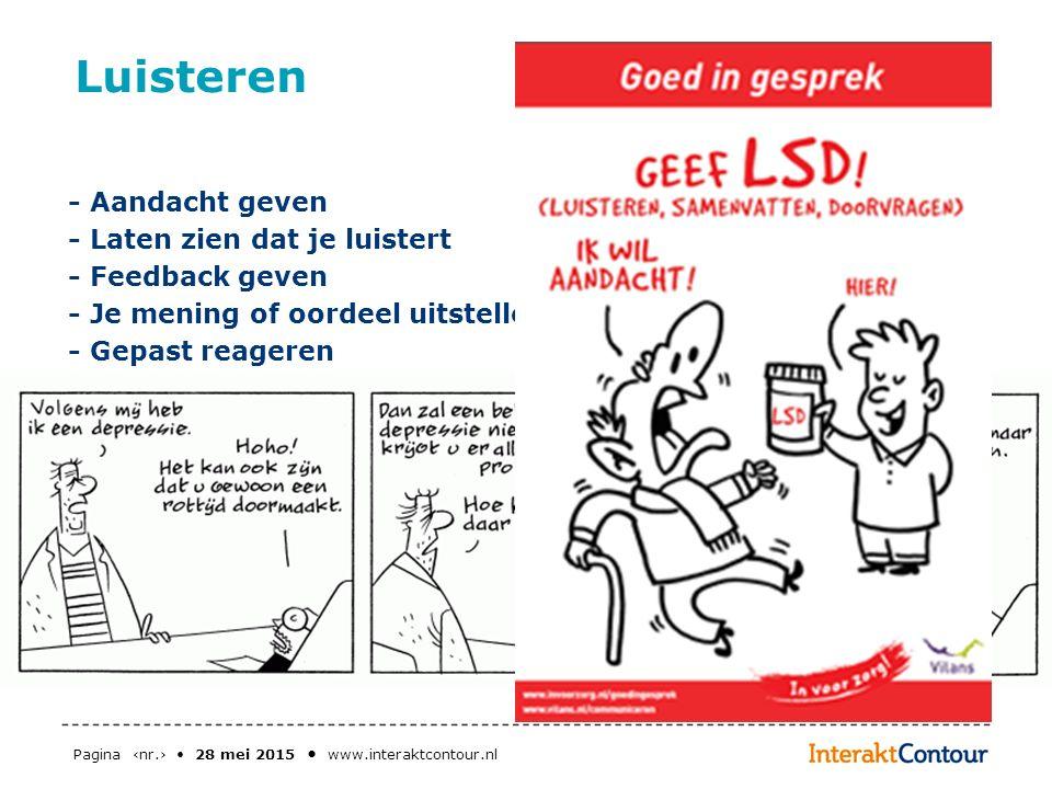 Pagina ‹nr.› 28 mei 2015 www.interaktcontour.nl Luisteren - Aandacht geven - Laten zien dat je luistert - Feedback geven - Je mening of oordeel uitste