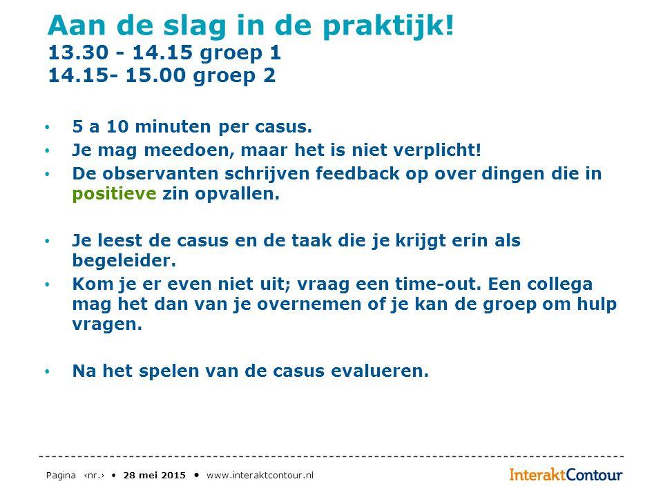 Pagina ‹nr.› 28 mei 2015 www.interaktcontour.nl Aan de slag in de praktijk! 13.30 - 14.15 groep 1 14.15- 15.00 groep 2 5 a 10 minuten per casus. Je ma