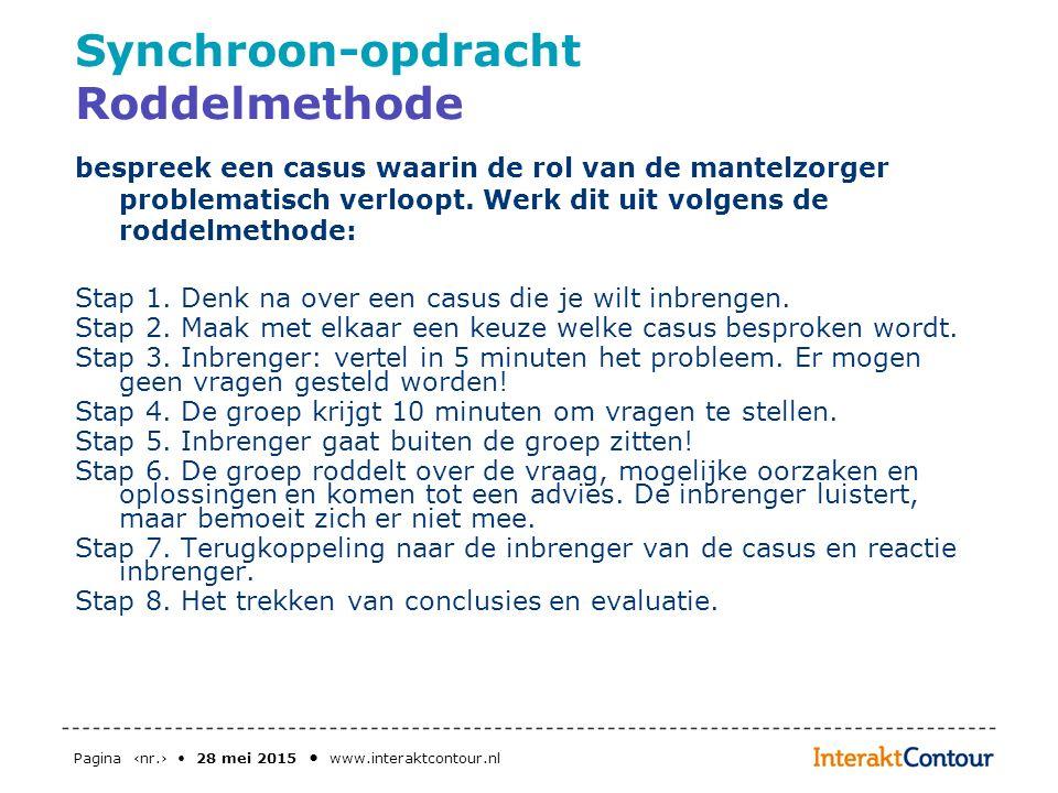Pagina ‹nr.› 28 mei 2015 www.interaktcontour.nl Synchroon-opdracht Roddelmethode bespreek een casus waarin de rol van de mantelzorger problematisch ve