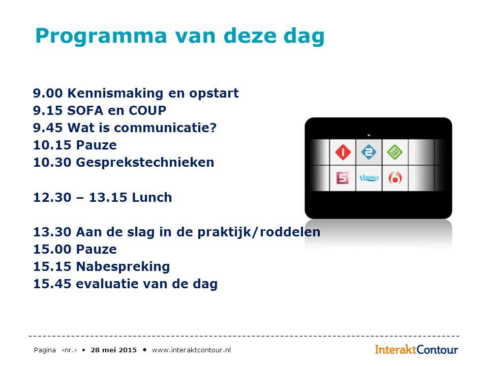 Pagina ‹nr.› 28 mei 2015 www.interaktcontour.nl Programma van deze dag 9.00 Kennismaking en opstart 9.15 SOFA en COUP 9.45 Wat is communicatie? 10.15