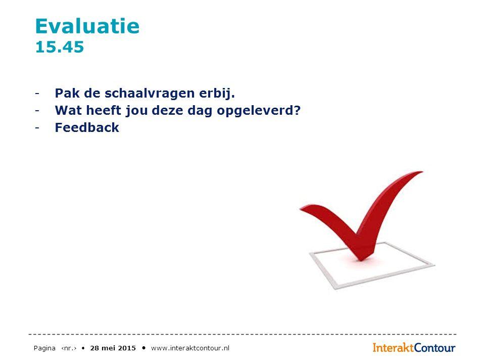 Pagina ‹nr.› 28 mei 2015 www.interaktcontour.nl Evaluatie 15.45 -Pak de schaalvragen erbij. -Wat heeft jou deze dag opgeleverd? -Feedback