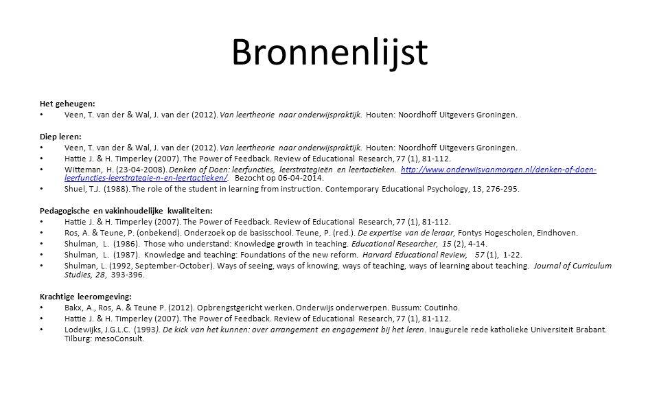 Bronnenlijst Het geheugen: Veen, T. van der & Wal, J.