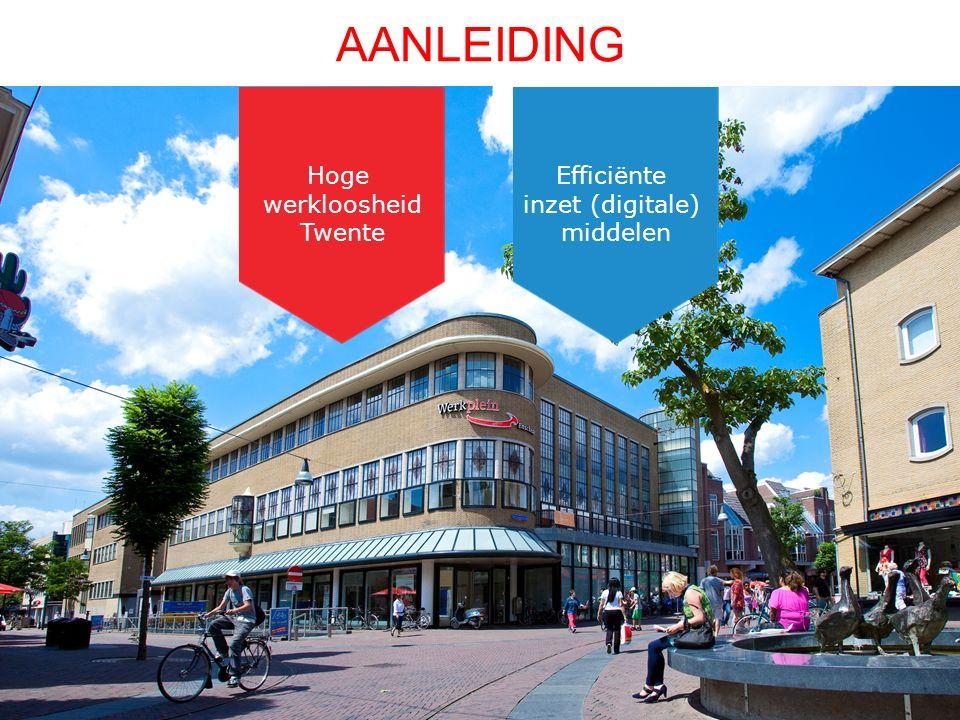 AANLEIDING Hoge werkloosheid Twente Efficiënte inzet (digitale) middelen