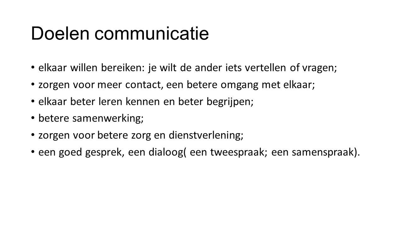 Doelen communicatie elkaar willen bereiken: je wilt de ander iets vertellen of vragen; zorgen voor meer contact, een betere omgang met elkaar; elkaar beter leren kennen en beter begrijpen; betere samenwerking; zorgen voor betere zorg en dienstverlening; een goed gesprek, een dialoog( een tweespraak; een samenspraak).