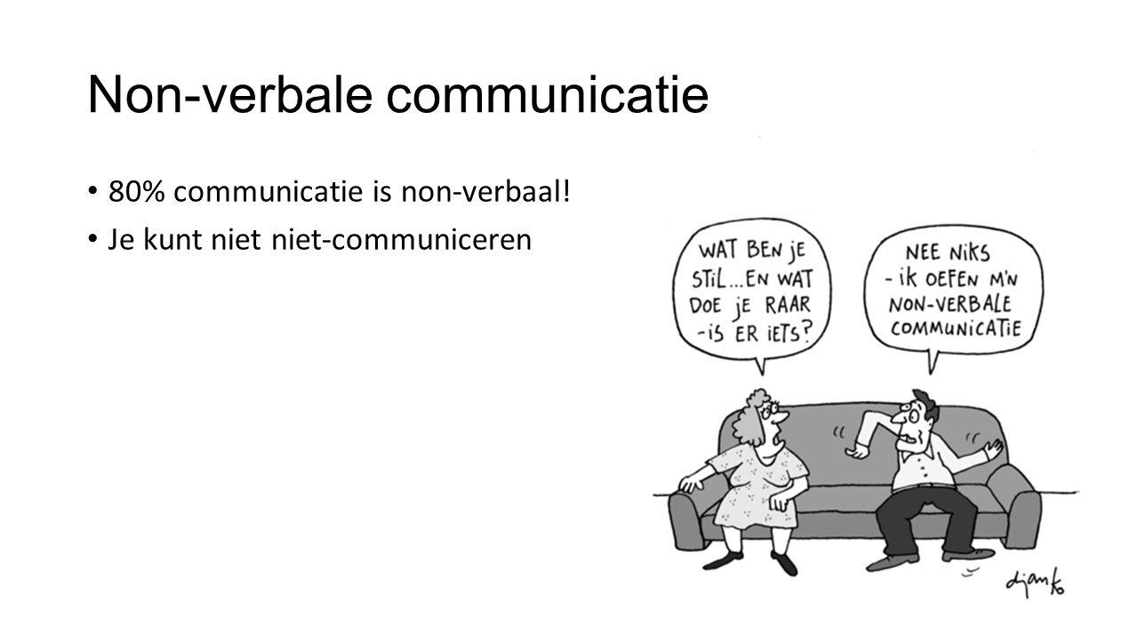 80% communicatie is non-verbaal! Je kunt niet niet-communiceren