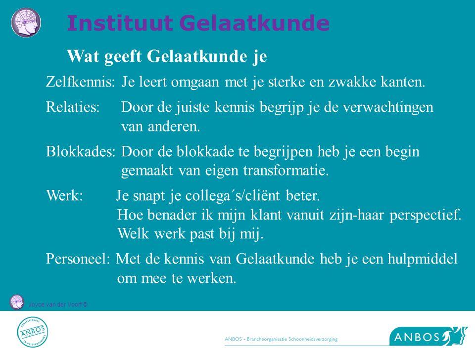 Joyce van der Voort © Wat geeft Gelaatkunde je Zelfkennis: Je leert omgaan met je sterke en zwakke kanten. Relaties: Door de juiste kennis begrijp je