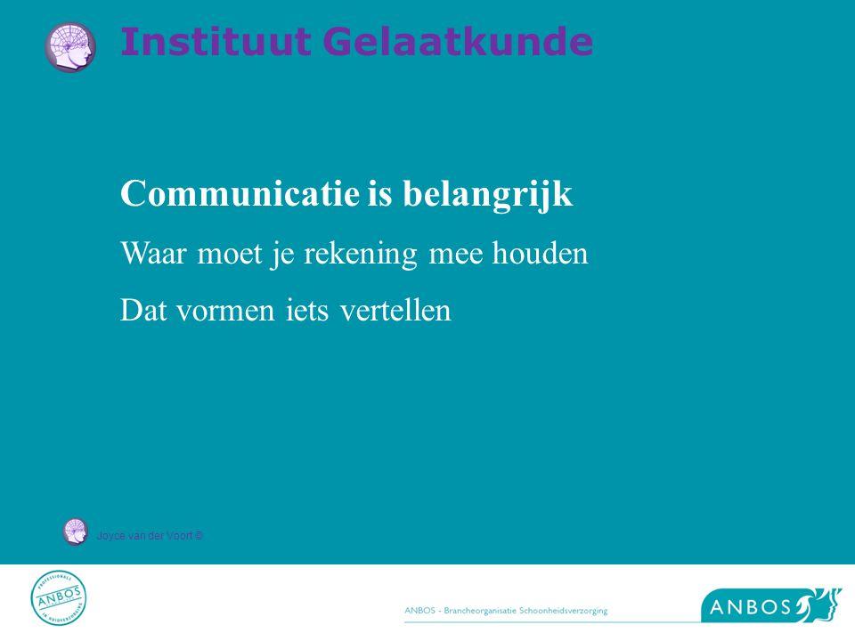 Joyce van der Voort © Communicatie is belangrijk Waar moet je rekening mee houden Dat vormen iets vertellen Instituut Gelaatkunde