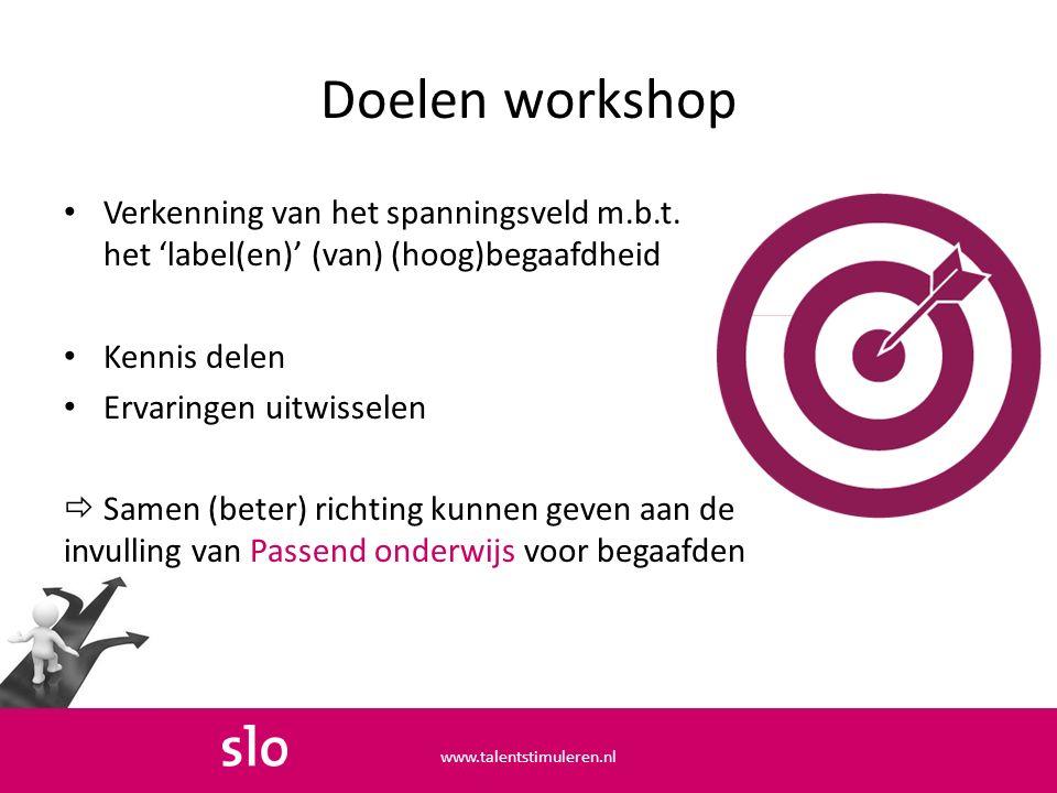 Doelen workshop Verkenning van het spanningsveld m.b.t.