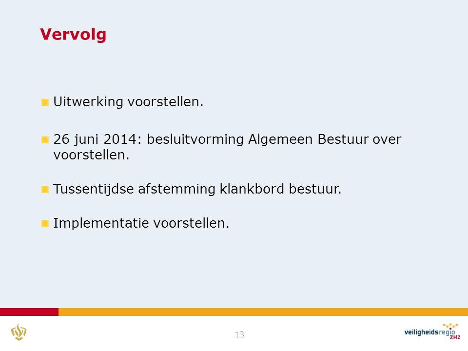 Vervolg Uitwerking voorstellen. 26 juni 2014: besluitvorming Algemeen Bestuur over voorstellen.