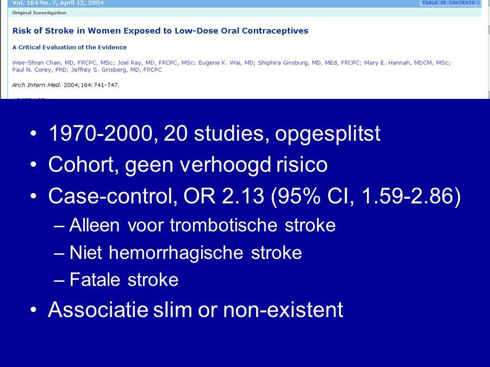 1970-2000, 20 studies, opgesplitst Cohort, geen verhoogd risico Case-control, OR 2.13 (95% CI, 1.59-2.86) –Alleen voor trombotische stroke –Niet hemorrhagische stroke –Fatale stroke Associatie slim or non-existent