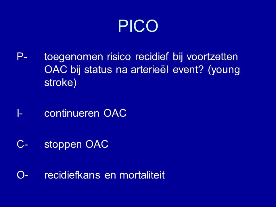 PICO P-toegenomen risico recidief bij voortzetten OAC bij status na arterieël event.
