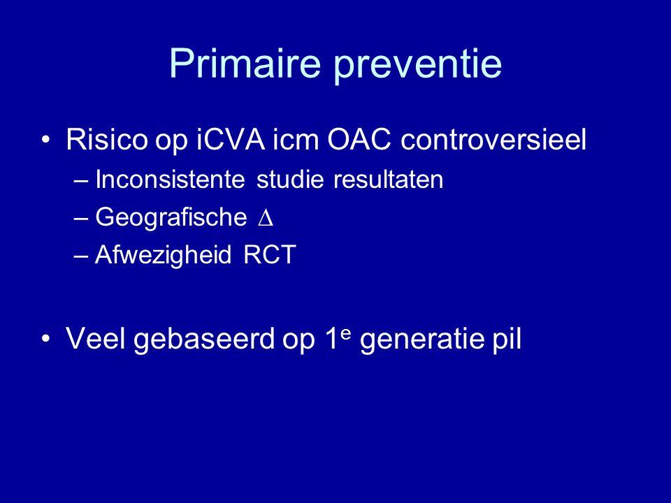Primaire preventie Risico op iCVA icm OAC controversieel –Inconsistente studie resultaten –Geografische ∆ –Afwezigheid RCT Veel gebaseerd op 1 e generatie pil