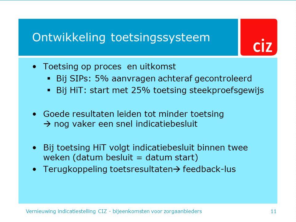 Ontwikkeling toetsingssysteem Toetsing op proces en uitkomst  Bij SIPs: 5% aanvragen achteraf gecontroleerd  Bij HiT: start met 25% toetsing steekpr