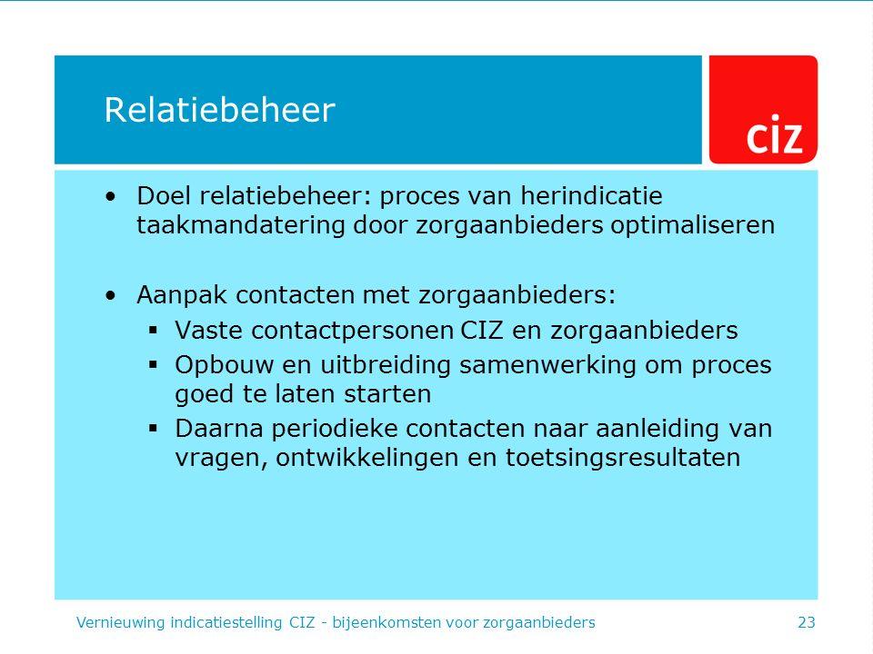 Relatiebeheer Doel relatiebeheer: proces van herindicatie taakmandatering door zorgaanbieders optimaliseren Aanpak contacten met zorgaanbieders:  Vas
