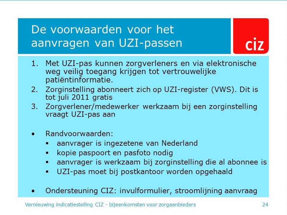 De voorwaarden voor het aanvragen van UZI-passen 1.Met UZI-pas kunnen zorgverleners en via elektronische weg veilig toegang krijgen tot vertrouwelijke