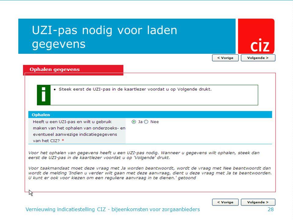 UZI-pas nodig voor laden gegevens Vernieuwing indicatiestelling CIZ - bijeenkomsten voor zorgaanbieders28