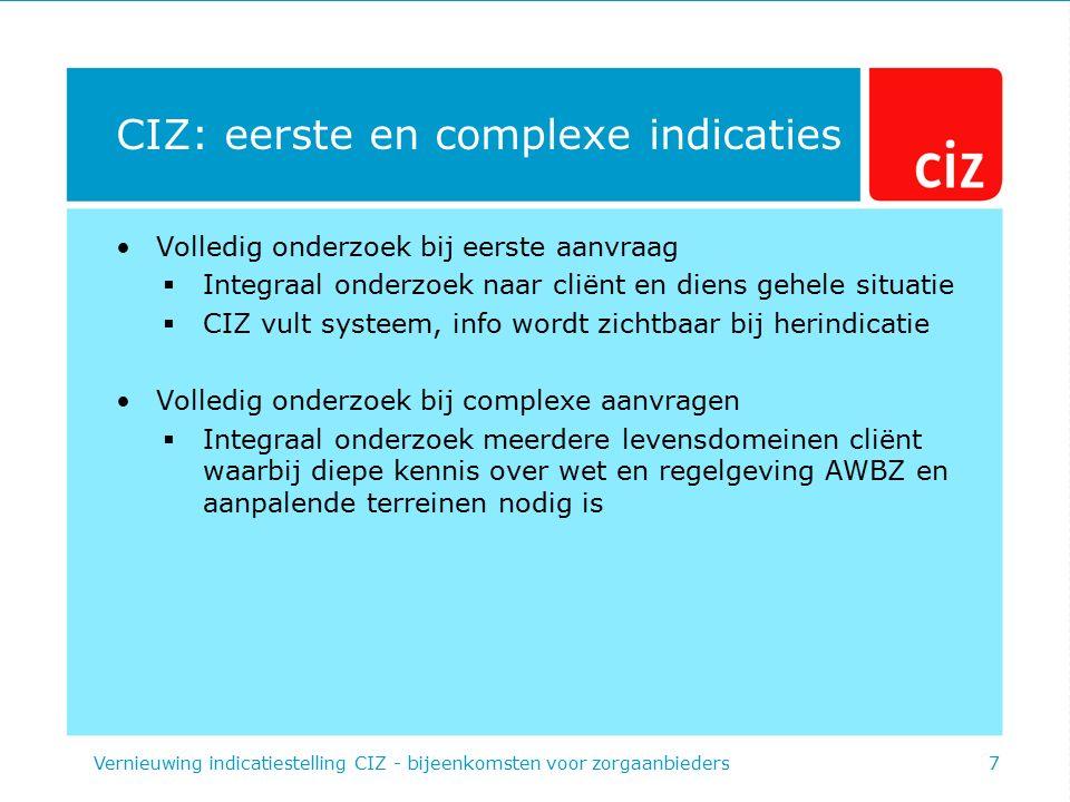 CIZ: eerste en complexe indicaties Volledig onderzoek bij eerste aanvraag  Integraal onderzoek naar cliënt en diens gehele situatie  CIZ vult systee