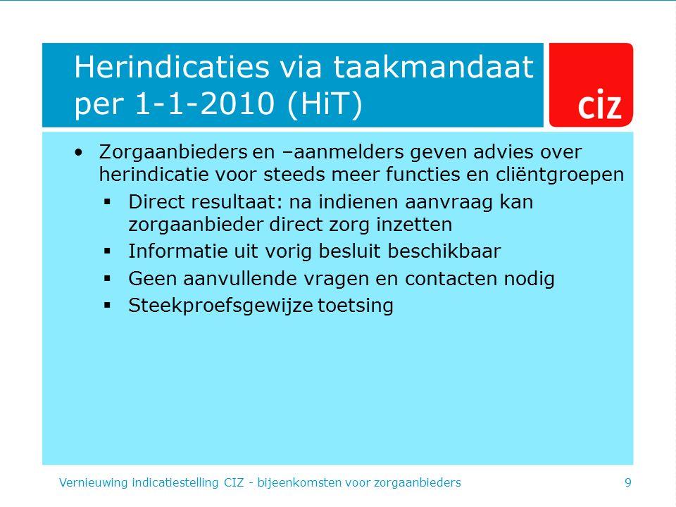 Herindicaties via taakmandaat per 1-1-2010 (HiT) Zorgaanbieders en –aanmelders geven advies over herindicatie voor steeds meer functies en cliëntgroep