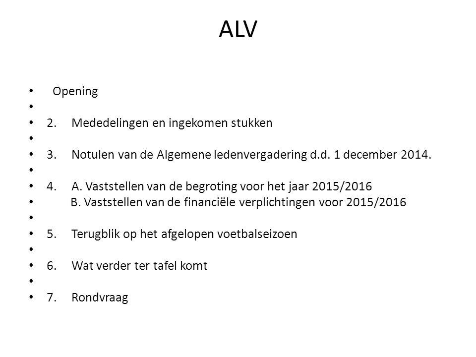 ALV Opening 2. Mededelingen en ingekomen stukken 3.