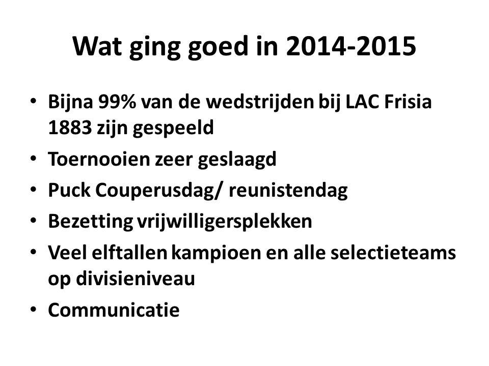 Wat ging goed in 2014-2015 Bijna 99% van de wedstrijden bij LAC Frisia 1883 zijn gespeeld Toernooien zeer geslaagd Puck Couperusdag/ reunistendag Bezetting vrijwilligersplekken Veel elftallen kampioen en alle selectieteams op divisieniveau Communicatie