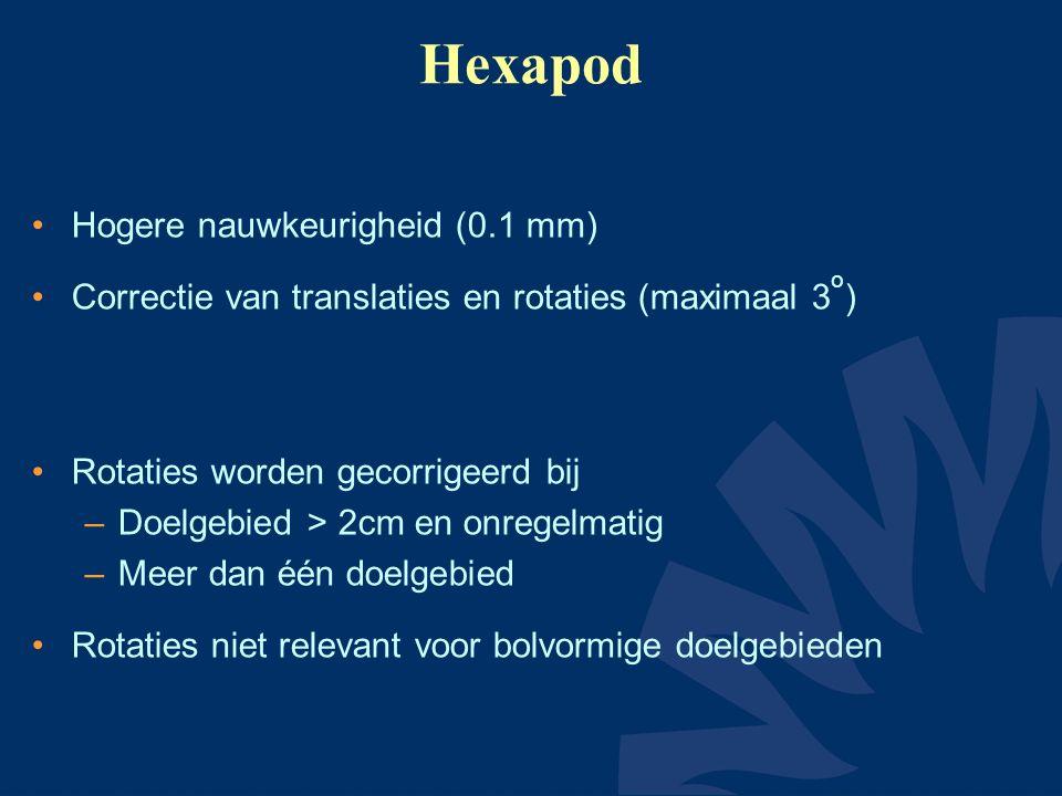 Hexapod Hogere nauwkeurigheid (0.1 mm) Correctie van translaties en rotaties (maximaal 3 o ) Rotaties worden gecorrigeerd bij –Doelgebied > 2cm en onregelmatig –Meer dan één doelgebied Rotaties niet relevant voor bolvormige doelgebieden