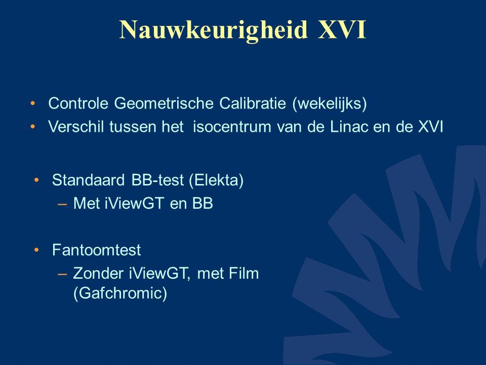 Nauwkeurigheid XVI Controle Geometrische Calibratie (wekelijks) Verschil tussen het isocentrum van de Linac en de XVI Standaard BB-test (Elekta) –Met iViewGT en BB Fantoomtest –Zonder iViewGT, met Film (Gafchromic)