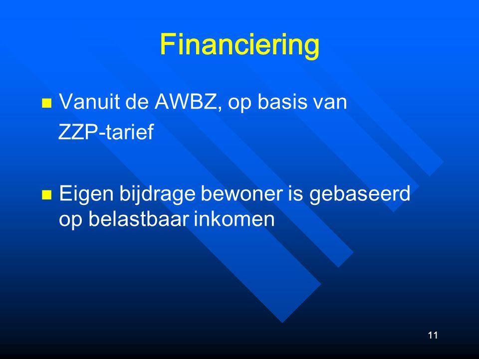 11 Financiering Vanuit de AWBZ, op basis van ZZP-tarief Eigen bijdrage bewoner is gebaseerd op belastbaar inkomen