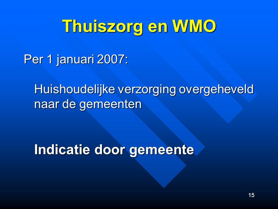 15 Thuiszorg en WMO Per 1 januari 2007: Huishoudelijke verzorging overgeheveld naar de gemeenten Indicatie door gemeente