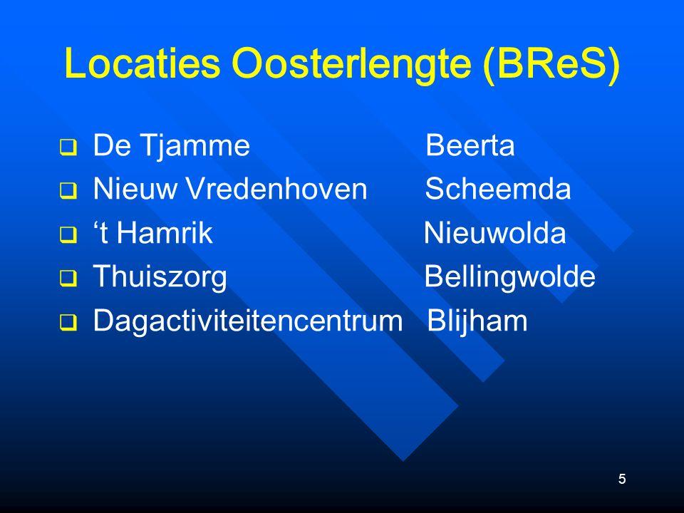 5 Locaties Oosterlengte (BReS)  De Tjamme Beerta  Nieuw Vredenhoven Scheemda  't Hamrik Nieuwolda  Thuiszorg Bellingwolde  Dagactiviteitencentrum Blijham