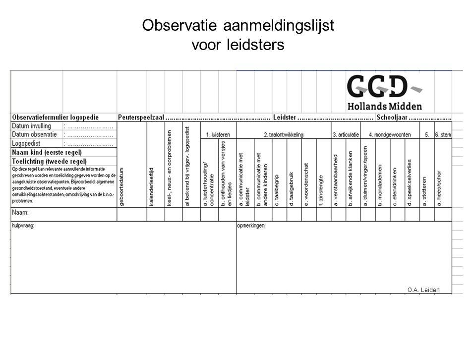 Observatie aanmeldingslijst voor leidsters O.A. Leiden